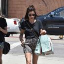 Lucy Hale in Animal Print Shorts – Shopping at Paper Source in LA