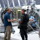 Director MCG (left) discusses a scene with CHRISTIAN BALE on the set of Warner Bros. Pictures' action/sci-fi feature 'Terminator Salvation,' a Warner Bros. Pictures release. The film also stars Sam Worthington. Photo by Richard Foreman