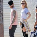 Adam Levine and his model wife Behati Prinsloo on the set of a Maroon 5 music video in Los Angeles, California on August 30, 2014