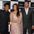 Aishwarya Rai Bachchan with Hugh Jackman and Shahrukh Khan at FICCI Frames 2011