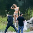 Josephine Skriver Shooting a commercial for Victoria Secret's upcoming holiday catalog in Aspen - 454 x 497