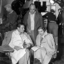 Joel McCrea, Gregory La Cava & Claudette Colbert on the set of