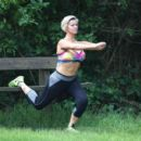 Kerry Katona – Working Out in Park in Sussex