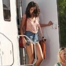 Selena Gomez leaving a tralier on the set of 'Spring Breakers' in Tampa, FL on March 2, 2012