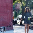 Helena Christensen – Seen With Her Dog in New York
