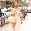 Lily Aldridge in Long Summer Dress out in New York