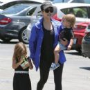 Kourtney Kardashian and her kids Penelope and Reign spotted out for lunch at Corner Bakery with some friends in Calabasas, California on June 13, 2016 - 434 x 600