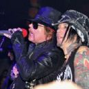 Axl Rose of Guns N' Roses perform during the DeLeon Tequila with Nur Khan Electric Sessions Presents The DeLeon Rock Lounge featuring Guns N' Roses>> at the Hiro Ballroom at The Maritime Hotel on February 16, 2012 in New York City