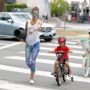 Model Alessandra Ambrosio and fiance Jamie Mazur take their kids Anja and Noah out for lunch after her yoga class in Brentwood, California on July 18, 2015
