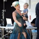 Pink carrying daughter Willow Sage on the set of her new music video in Los Angeles (August 27)