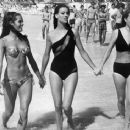 Martine Beswick, Claudine Auger, Luciana Paluzzi on break from filming Thunderball (1965) - 454 x 366