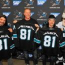 Metallica receive San Jose Sharks jerseys at Metallica Night At The San Jose Sharks Game on January 21, 2015 in San Jose, California