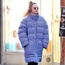 Gigi Hadid – Wearing a Pin Stripe Puffer Jacket in NYC