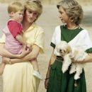 Princess Diana, with Prince Harry, and Queen Sophia of Spain