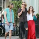 Bonnie Wright and Jamie Campbell-Bower were spotted out for a walk with a friend in West London today, April 27.