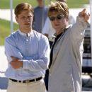Matt Damon and director Robert Redford on the set of Dreamworks' The Legend of Bagger Vance - 2000