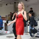Behati Prinsloo in Red Dress Out in Tokyo - 454 x 681