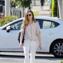 Lily Collins in White Pants – Out in Beverly Hills