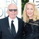 Still going strong! Jerry Hall, 59, hits the Golden Globes red carpet on the arm of 84-year-old Rupert Murdoch - three months after it was revealed they are dating - 11 Jan 2016 - 454 x 340