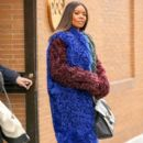 Gabrielle Union is seen wearing a multi-colored fur coat while leaving 'The View' in New York City, New York on January 10, 2017 - 394 x 600