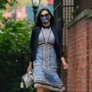 Famke Janssen – Looks stylish in a dress while she out for a stroll in New York
