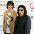 "KISS frontman Gene Simmons takes his family to Hasting Racetrack in Vancouver, Canada. The ""Gene Simmons Family Jewels"" stars posed with fans and met the jockeys and horses."