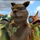 Benny the Squirrel (voice of James Belushi) between Cloak and Camo the Chameleons.