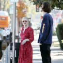 Dakota Fanning in Red Dress out for lunch in Studio City - 454 x 681