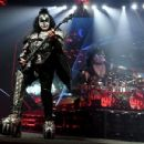Gene Simmons of KISS performs during their End Of The Road World Tour at The Forum on February 16, 2019 in Inglewood, California - 454 x 350