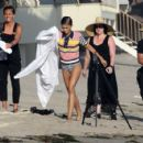 Zendaya spotted Shooting a music video on the beach in Santa Monica Ca Monday August 1, 2016