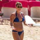Coleen Rooney in Blue Bikini at Sandy Lane Beach in Barbados - 454 x 527