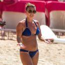 Coleen Rooney in Blue Bikini at Sandy Lane Beach in Barbados - 454 x 527