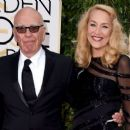 Still going strong! Jerry Hall, 59, hits the Golden Globes red carpet on the arm of 84-year-old Rupert Murdoch - three months after it was revealed they are dating - 11 Jan 2016 - 454 x 257