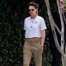 Kristen Stewart in Brown Pants – Leaving a friends house in Los Angeles - 454 x 681
