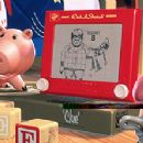 Hamm uses an Etch-A-Sketch to reconstruct the events surrounding Woody's kidnapping as Mr. Potato Head® observes in Disney's Toy Story 2 - 11/99