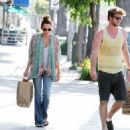 Miley Cyrus did some shopping at American Apparel with her boyfriend, Liam Hemsworth yesterday afternoon, May 10, in Studio City