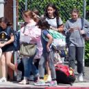 Melissa McCarthy out with her daughters and their friends in Los Angeles, California on April 04, 2017