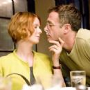 "Cynthia Nixon (left) stars as ""Miranda Hobbes"" and David Eigenberg (right) stars as ""Steve Brady"" in New Line Cinema's upcoming release of SEX AND THE CITY."