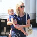 'This Means War' star Reese Witherspoon takes her son Tennessee to a toy store on August 15, 2013 in Brentwood, California
