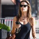 Alessandra Ambrosio in Black Tights Jumpsuit – Heads for a pilates class in Los Angeles