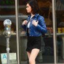 Amanda Steele in Black Mini Skirt – Leaving Jon and Vinny's Pizza in LA - 454 x 681