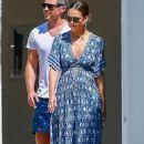 Jessica Alba in Summer Blue Dress – Shopping in LA