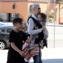 Gwen Stefani takes her sons Kingston, Zuma, and Apollo to church in North Hollywood on April 17, 2016