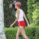 Nicole Richie In Red Shorts Out In Los Angeles