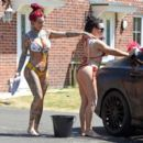 Jemma Lucy and Laura Alicia Summers in Bikini – Car Washing in Manchester - 454 x 393