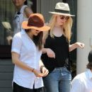 Elizabeth Olsen and Dakota Fanning on the set of 'Very Good Girls' in NYC (July 10)