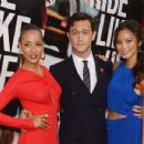 "Joseph Gordon-Levitt with Dania Ramirez and Jamie Chung in New York City at the ""Premium Rush"" premiere (August 22)"