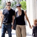 Halle Berry with Olivier Martinez and little Nahla in Los Angeles arriving at Walt Disney Concert Hall (August 11)