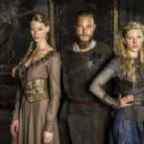 Alyssa Sutherland, Travis Fimmel and Katheryn Winnick in Vikings