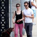 Anne Hathaway and fiance Adam Shulman walking Esmeralda in Brooklyn, NY (August 25) - 454 x 596